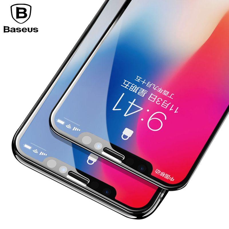 Baseus Protecteur D'écran En Verre Trempé Pour iPhone X 10 4D Surface Pleine Couverture Protection En Verre Film Pour iPhone X Trempé verre