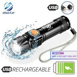 USB внутри Батарея T6 мощный 2000LM светодиодный фонарик Портативный свет Перезаряжаемые Тактический светодиодные фонари фонарь с увеличением