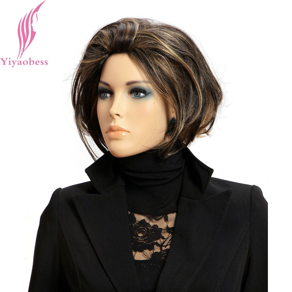 Yiyaobess Mix Color Short Wavy Wig Brown Hair highlight Bob Wigs For Women Synthetic Japanese Fiber