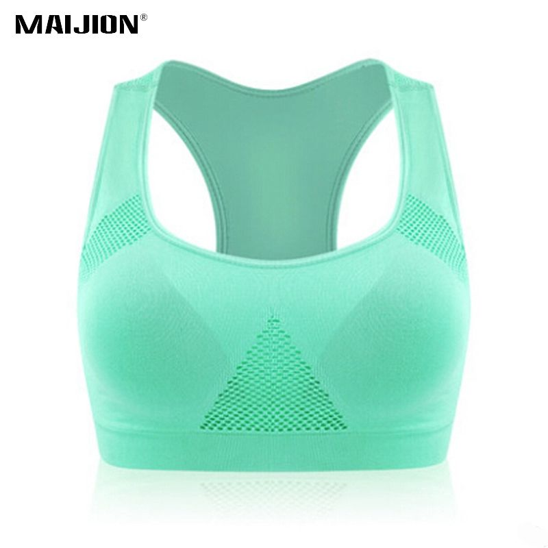 MAIJION Professional Absorb Sweat Top Aerobics Running Vest Tanks Tops ,Women Gym Fitness Seamless Padded Sport Bra Crop Top