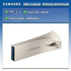 Samsung USB3.1 Bar PLUS Logam USB Flash Drive 32 GB 64 GB 128 GB 256 GB Pen Drive-Up 300 MB/Detik Memori USB Flash Disk Memoria USB