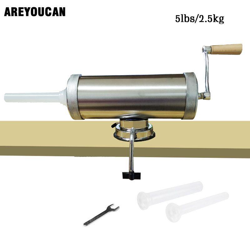 5lbs Horizontal manuel Type viande saucisse farcisseur faisant la Machine en aluminium saucisse remplisseur Salami fabricant Fix aspiration remplissage entonnoirs