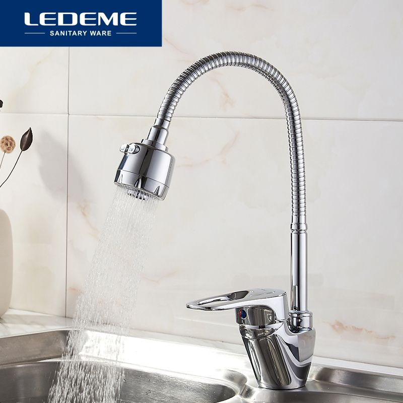 LEDEME Spring Style Kitchen Faucet Pull Out Kitchen Water Tap Chrome 2-Function Water Outlet Cold Hot Griferia De Cocina L4304