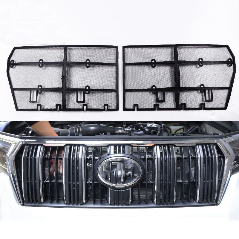 2Pcs Car Insect Screening Mesh Front Grille Insert Net For Toyota Land Cruiser Prado 150 2018 FJ150 Accessories
