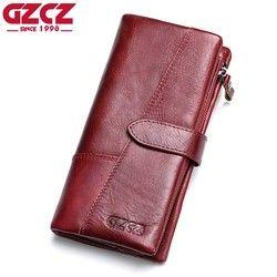 Gzcz Пояса из натуральной кожи Для женщин бумажник леди длинный кошелек женский кошелек зажим для денег Для женщин кошелек клатч удобный ...