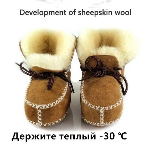 Hongteya winter Genuine Leather baby shoes boots infants warm shoes fur wool girls baby booties Sheepskin boy baby boots