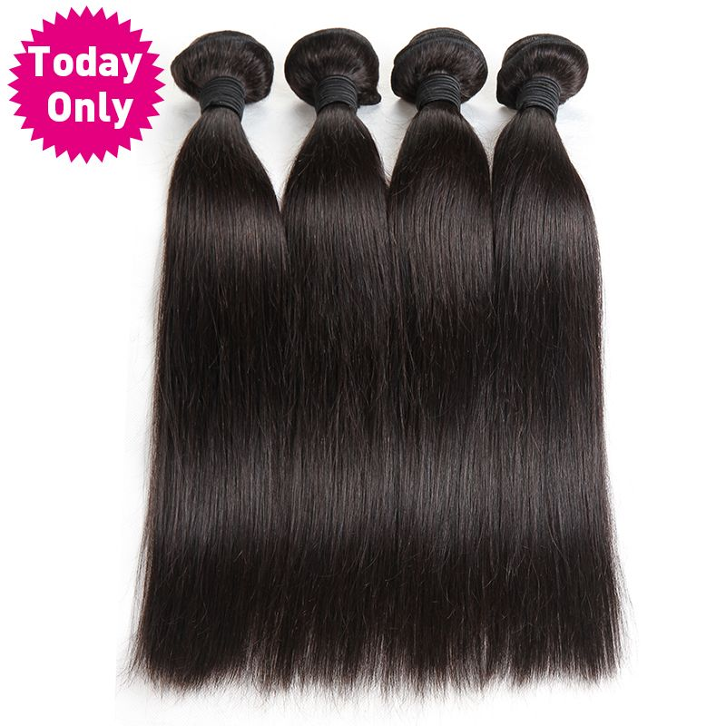 [TODAY ONLY] Peruvian Straight Hair Bundles 100% Human Hair Weave Bundles Natural Black Color Can Buy 3 or 4 Pcs Non Remy Hair