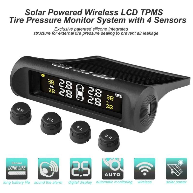 Solar Powered Smart Car TPMS Tyre Pressure Monitoring System Solar Power charging Digital LCD Display Auto Security Alarm System