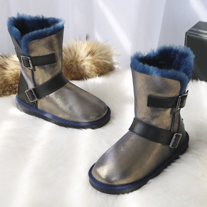 G&Zaco Luxury Winter Sheeoskin Boots Natural Wool Knight Boots Sheep Fur Genuine Leather Female Boots Mid Calf Women Shoes