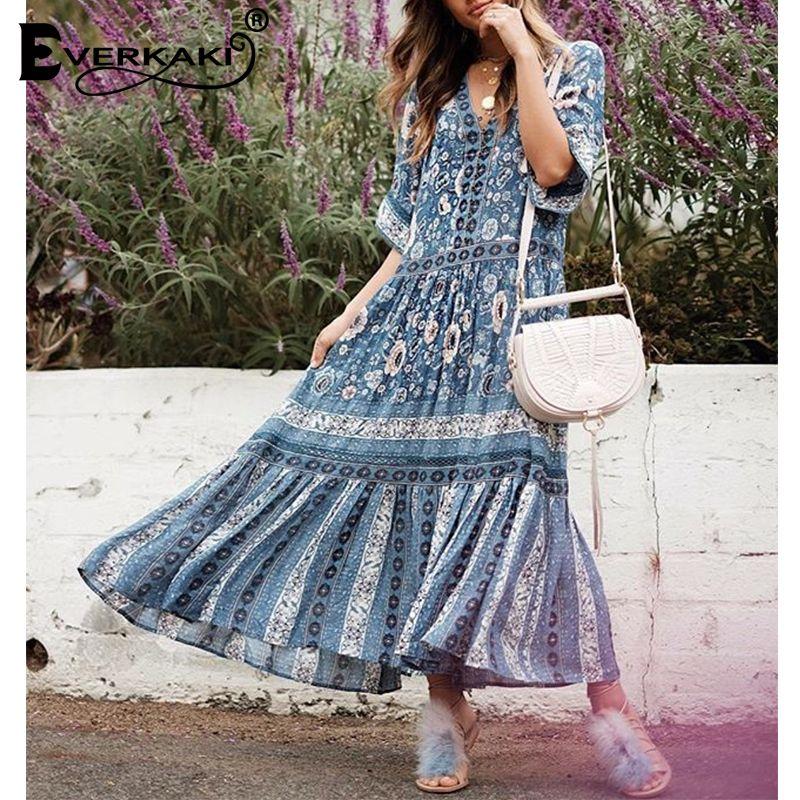 Everkaki Liberty Boho Patchwork Dress Women Floral Print Vestito Lungo Cotton V Neck Half Sleeve Long Dresses Female 2018 Summer