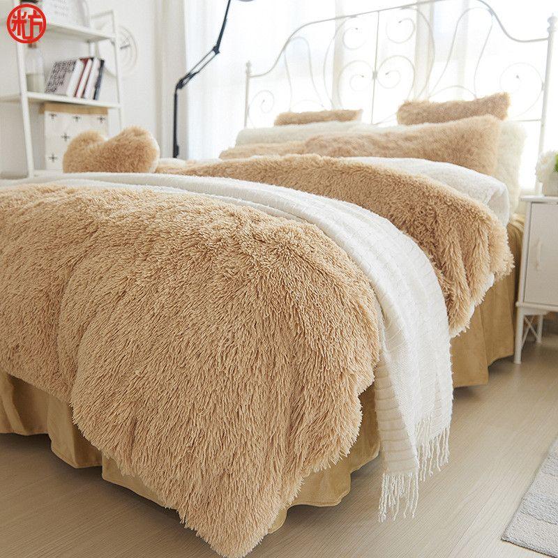 Winter Bettwäsche set Langes haar Cashmere blatt kissenbezug und bettbezug set Kamel Fleece thinken warme bedcloth rüschen bettwäsche sets