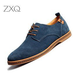 2017 fashion men casual shoes new spring men flats lace up male suede oxfords men leather shoes zapatillas hombre size 38-48
