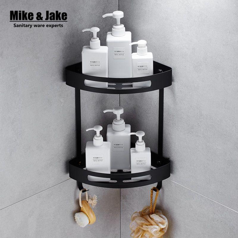 Stainless steel 304 Black bathroom corner shelf shower room rack for body wash bottle toilet corner table shelf rack holder