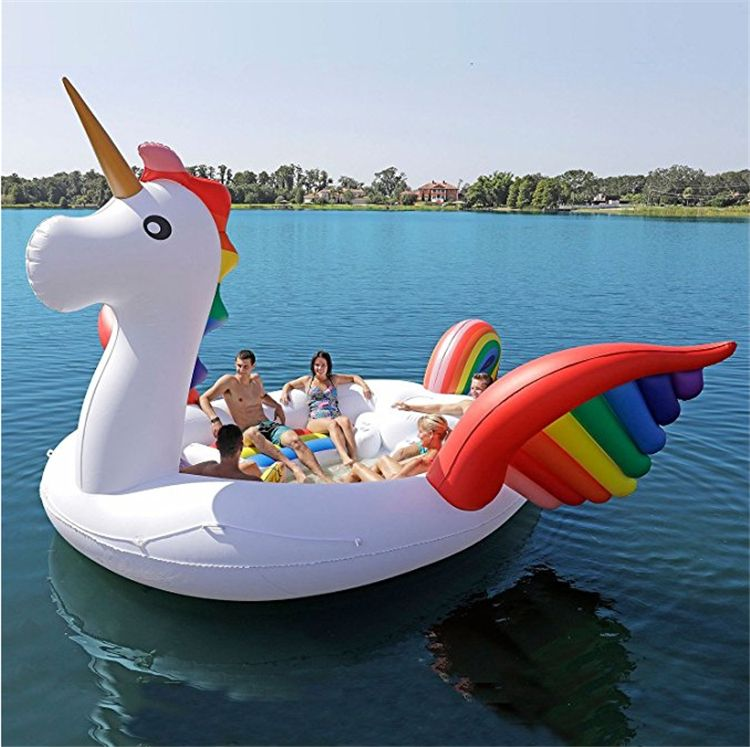 500*450*220cm PVC Giant Inflatable Unicorn Party Bird Island Big size unicorn boat for 6-8person