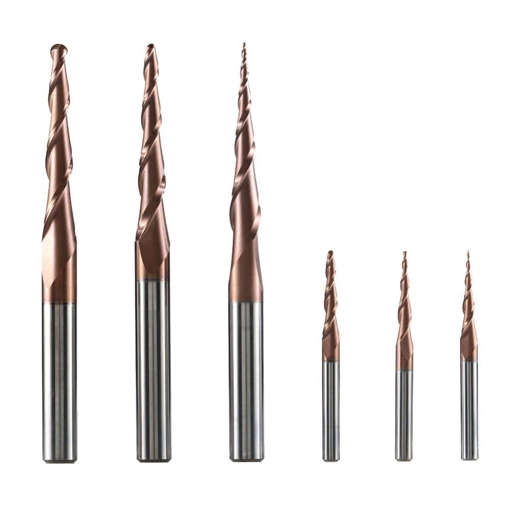 1pc HRC62 carbure de tungstène conique boule nez fraise CNC gravure sculpture routeur bits fraise pour bois et métal