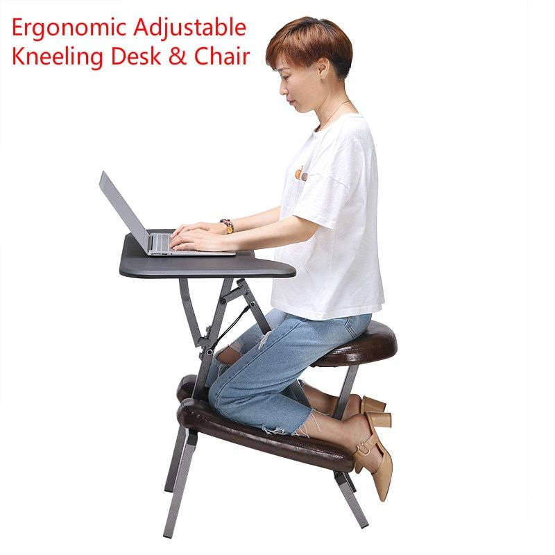 J46 Ergonomic Adjustable Kneeling Desk & Combination Chair Mobile Work Station Home Office Furniture Kneeling Chair Kneed Stool