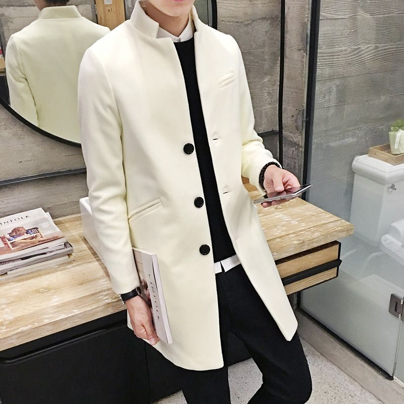 XMY3DWX Fashion men are high-end in winter keep warm Woolen cloth coat/Male Stand collar pure color Long Single-breasted jacket