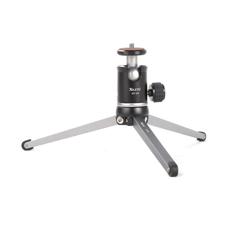 Ulanzi XILETU MT26+XT15 Mini Metal Tripod with Detachable Ball Head 360 Degree Rotation, Aluminum Alloy Tripod For GoPro DSLR