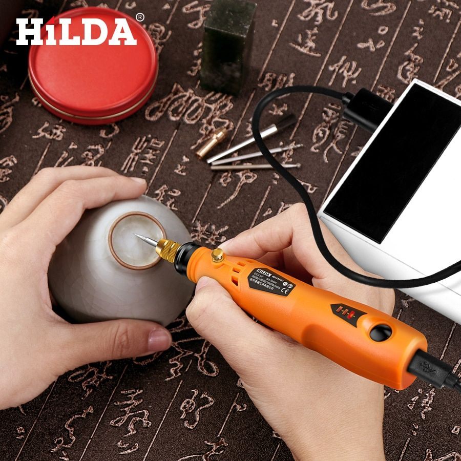HILDA 3.6 V Mini perceuse sans fil outil rotatif avec accessoires de meulage Set multifonction Mini stylo de gravure pour outils Dremel