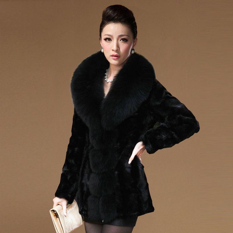 Natural Mink Fur Coats Outerwear Women Plus Size M - 7XL Large Fox Fur Collar Elegant Genuine Fur Jackets 2018 Autumn Winter