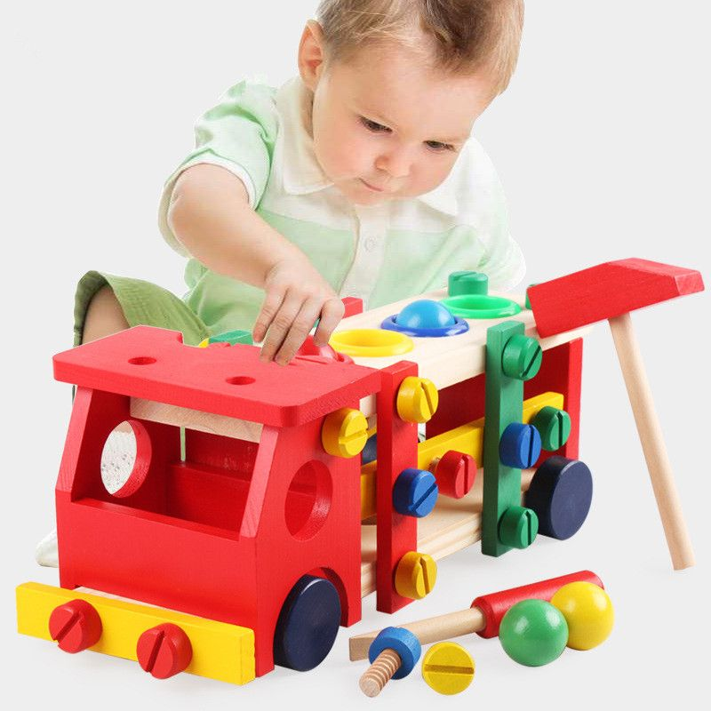 Enfants frapper vissage bloc démontage vis voiture Intelligence assemblé écrou combinaison bébé éducation précoce Puzzle en bois jouet