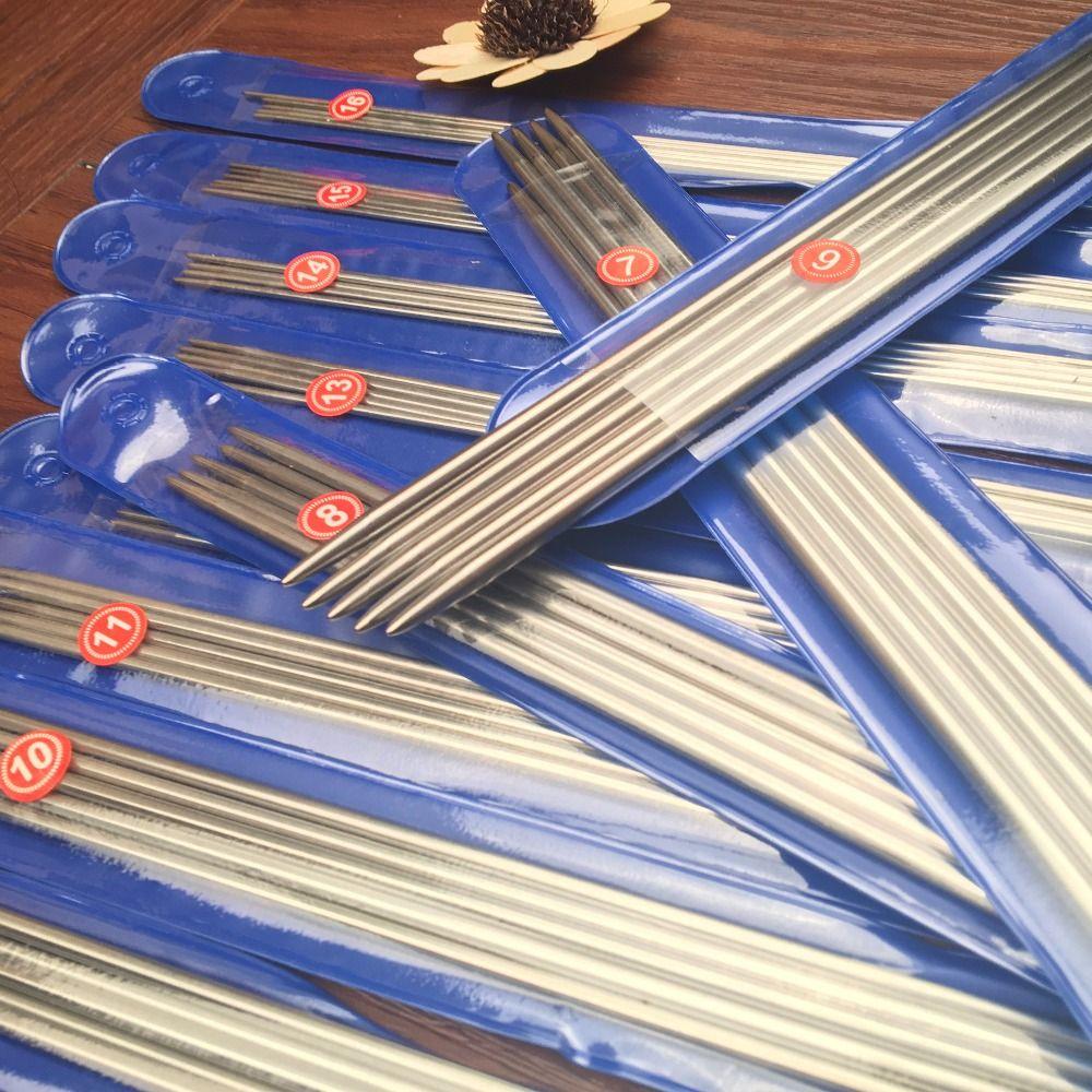 Livraison Gratuite 44/55 PCS/ENSEMBLE 25 cm/35 cm Droite en acier inoxydable aiguilles à tricoter crochet aiguilles à tricoter ensemble Taille 6-16