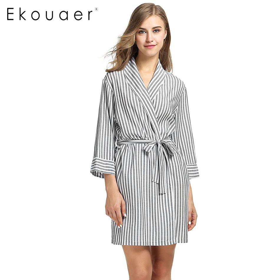 Ekouaer Striped Sleepwear Robe Women's Dressing Gown Casual 3/4 Sleeve Summer Sexy Women Spa Bathrobe Female Home Clothes