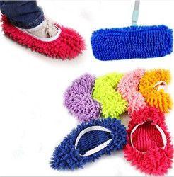 1 Pièce Microfibre Vadrouille De Nettoyage Paresseux Fuzzy Pantoufles Maison Plancher Maison Outils Chaussures Salle De Bains Cuisine Cleaner