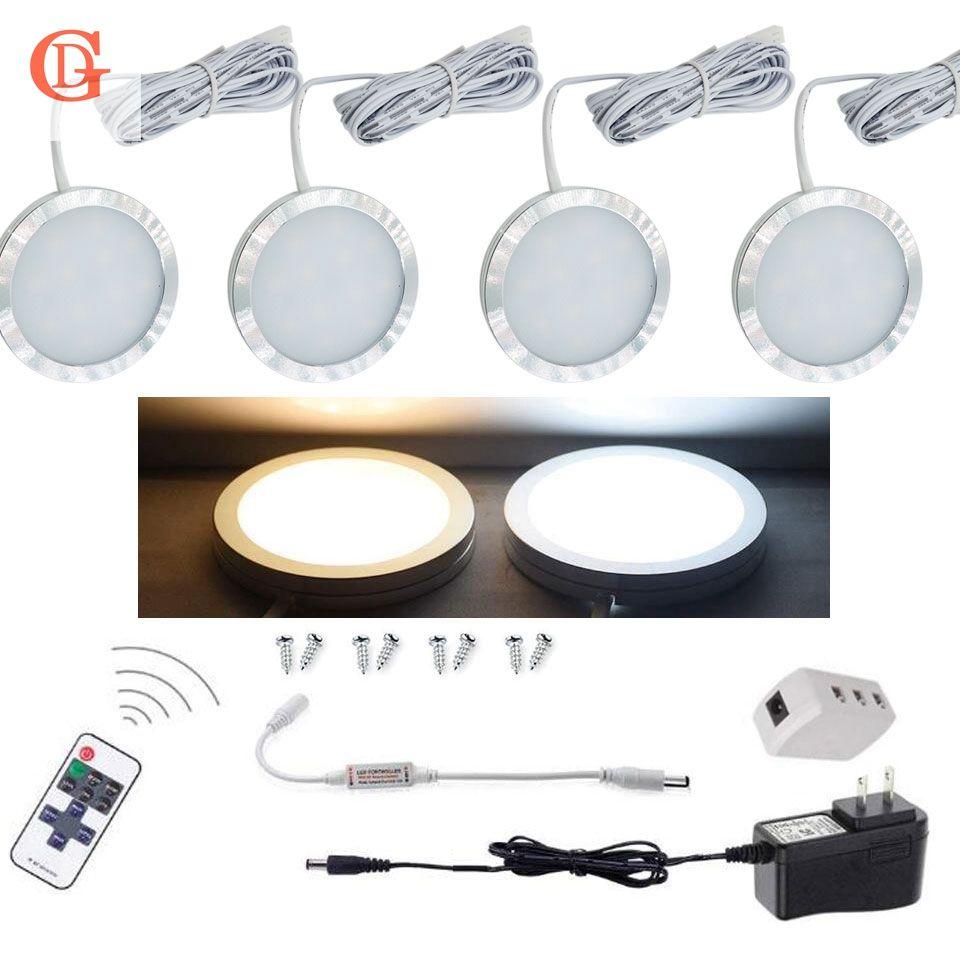 4 pcs par ensemble de Dimmable 12 v 2.5 w LED Sous L'éclairage Du Cabinet Sans Fil Télécommande LED Puck Lumière compteur LED Cabinet lumière