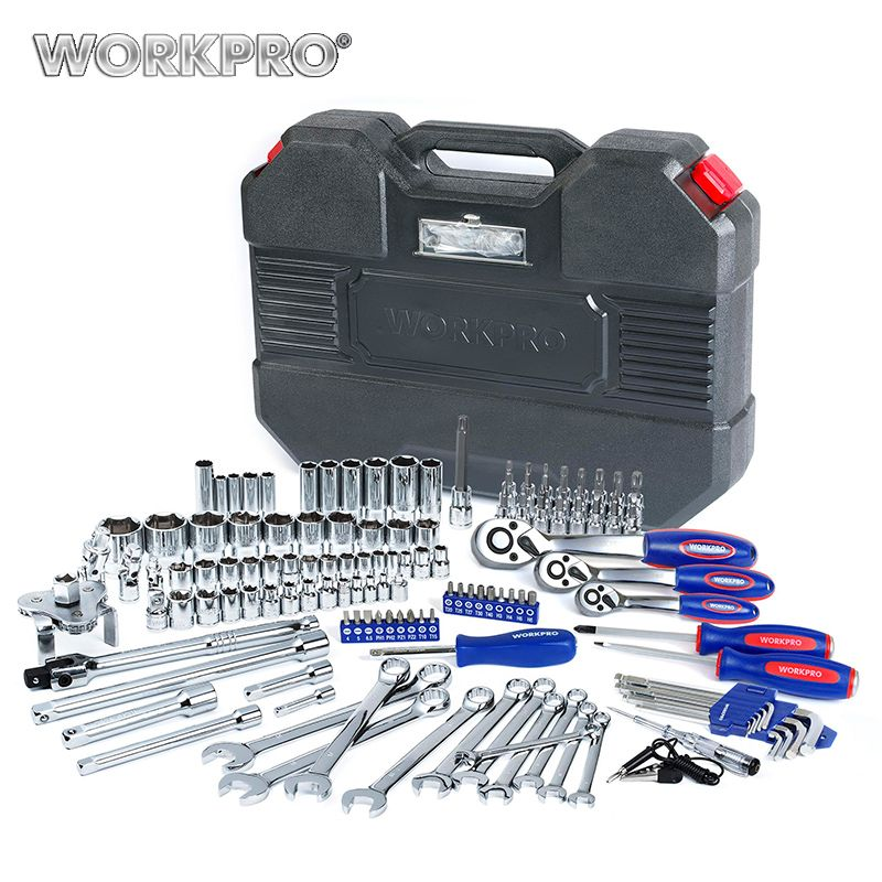 WORKPRO 123PC Tool Set 1/4 & 3/8 & 1/2 Ratchet Wrenches Car Repair Tools Spanner Sockets Bits Set Repair Tool Kits
