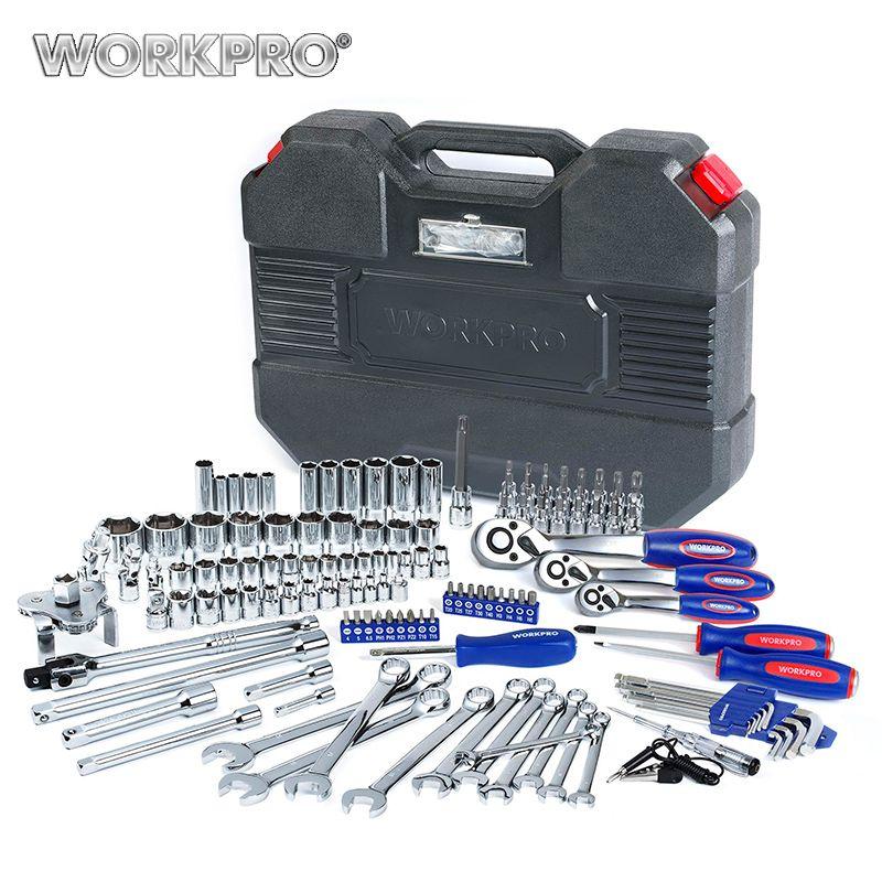WORKPRO 123PC Tool Set Car Repair Tools Socket Set 1/4