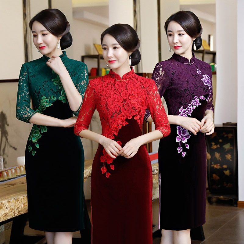 Retro Vintage Half Sleeves Red Chinese Qipao Dress Delicate Lace Sheath Cheongsam Dress For Elegant Ladies Robe Chinoise