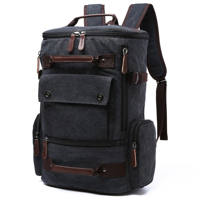 Men Laptop Backpack 15 Inch Rucksack Canvas School Bag Travel Backpacks for Teenage Male Notebook Bagpack Computer Knapsack Bags