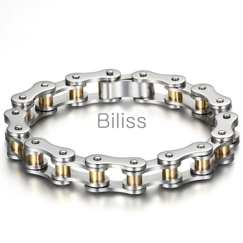 22cm*10mm Heavy Wide Stainless Steel Bracelet Men Biker Bicycle Motorcycle Chain Men's Bracelets Mens Bangles Gold & Black