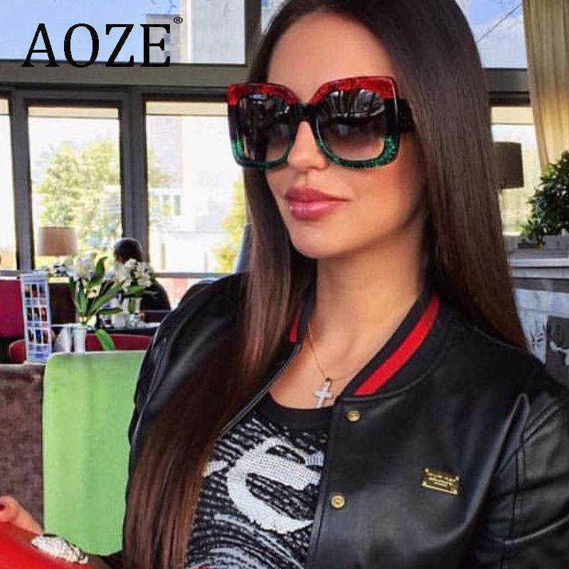 Arrival Women Square Luxury Sunglasses Oversize rayed Unique Clear Female Sun glasses Eyeglasses Big 2018 Brand Designer UV400