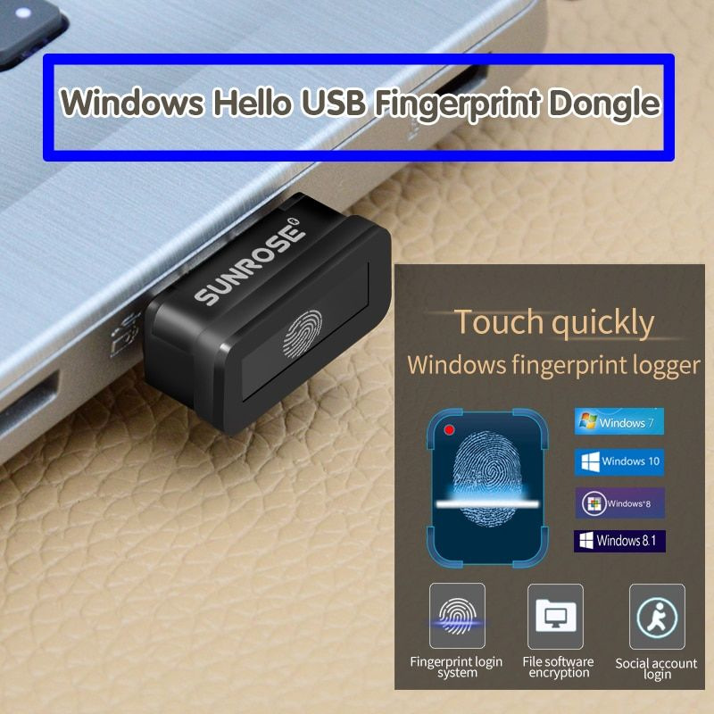 SUNROSE USB fingerprint reader Win10 laptop fingerprint identifikation Windows Hallo verschlüsselung
