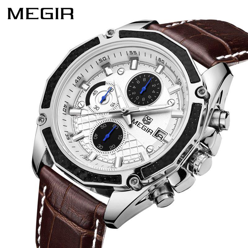 <font><b>MEGIR</b></font> Official Quartz Men Watches Fashion Genuine Leather Chronograph Watch Clock for Gentle Men Male Students Reloj Hombre 2015