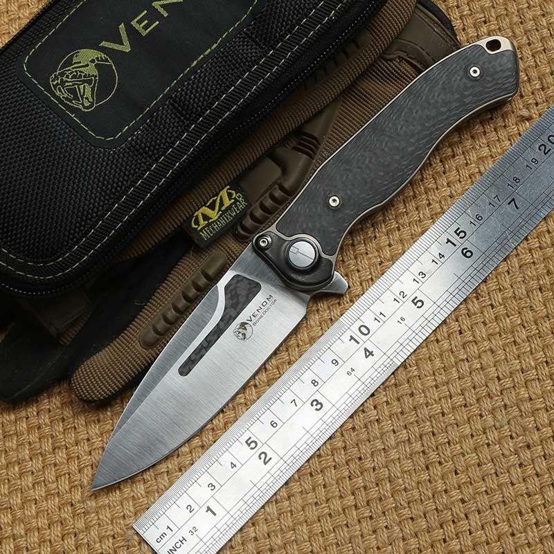 VENOM Knochen Arzt M390 klinge Titan CF Flipper klappmesser camping jagd küche obst outdoor survival messer EDC werkzeuge