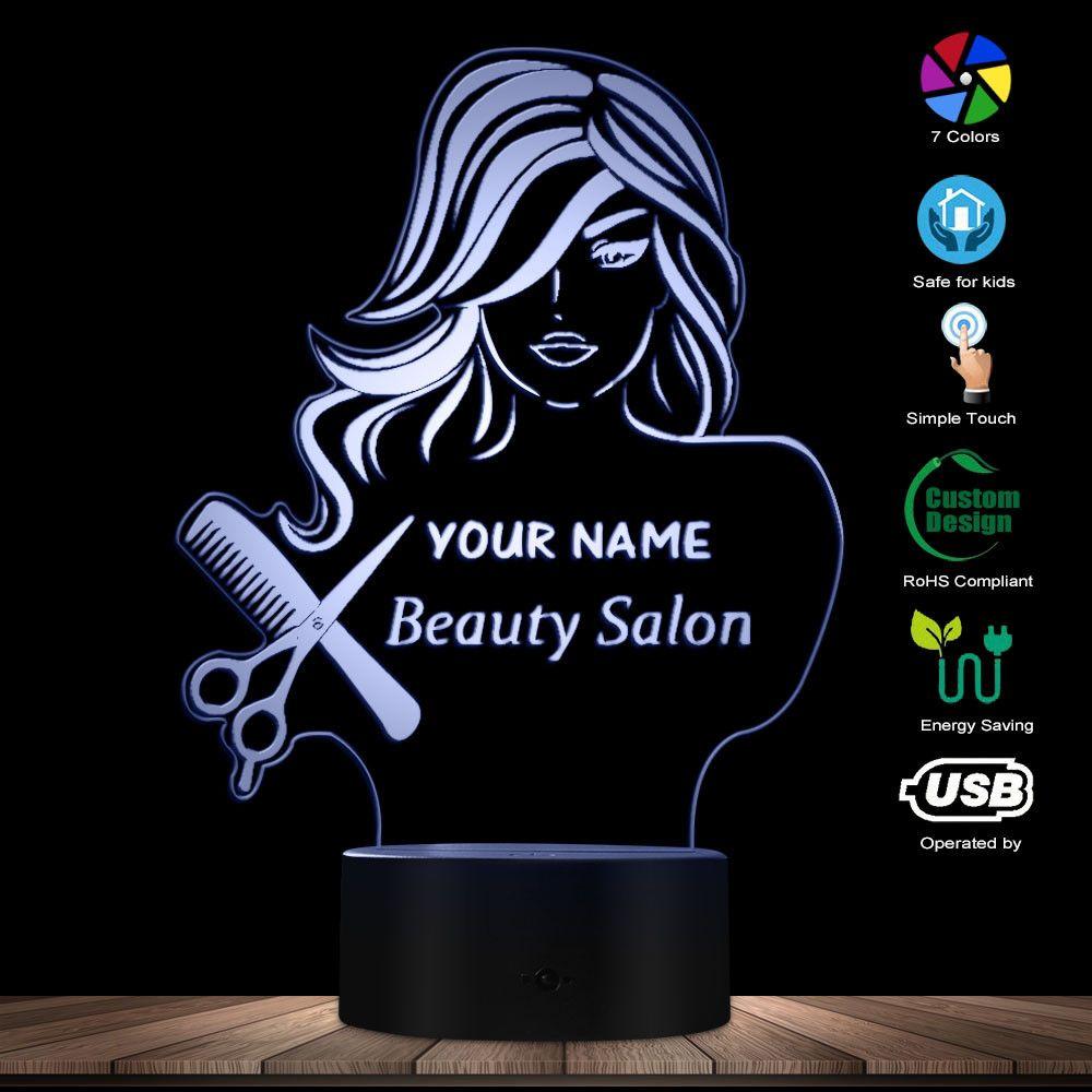 Salon de beauté mode dame LED Illusion veilleuse Salon de coiffure coiffeur ciseaux peigne lampe de Table personnalisé votre nom lumière moderne