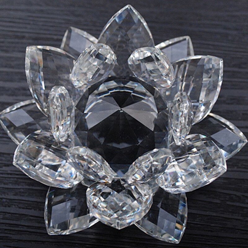 80 mm Feng shui Quartz Crystal Lotus Flower Crafts Glass Paperweight Ornaments Figurines Home Wedding Party Decor Gifts Souvenir