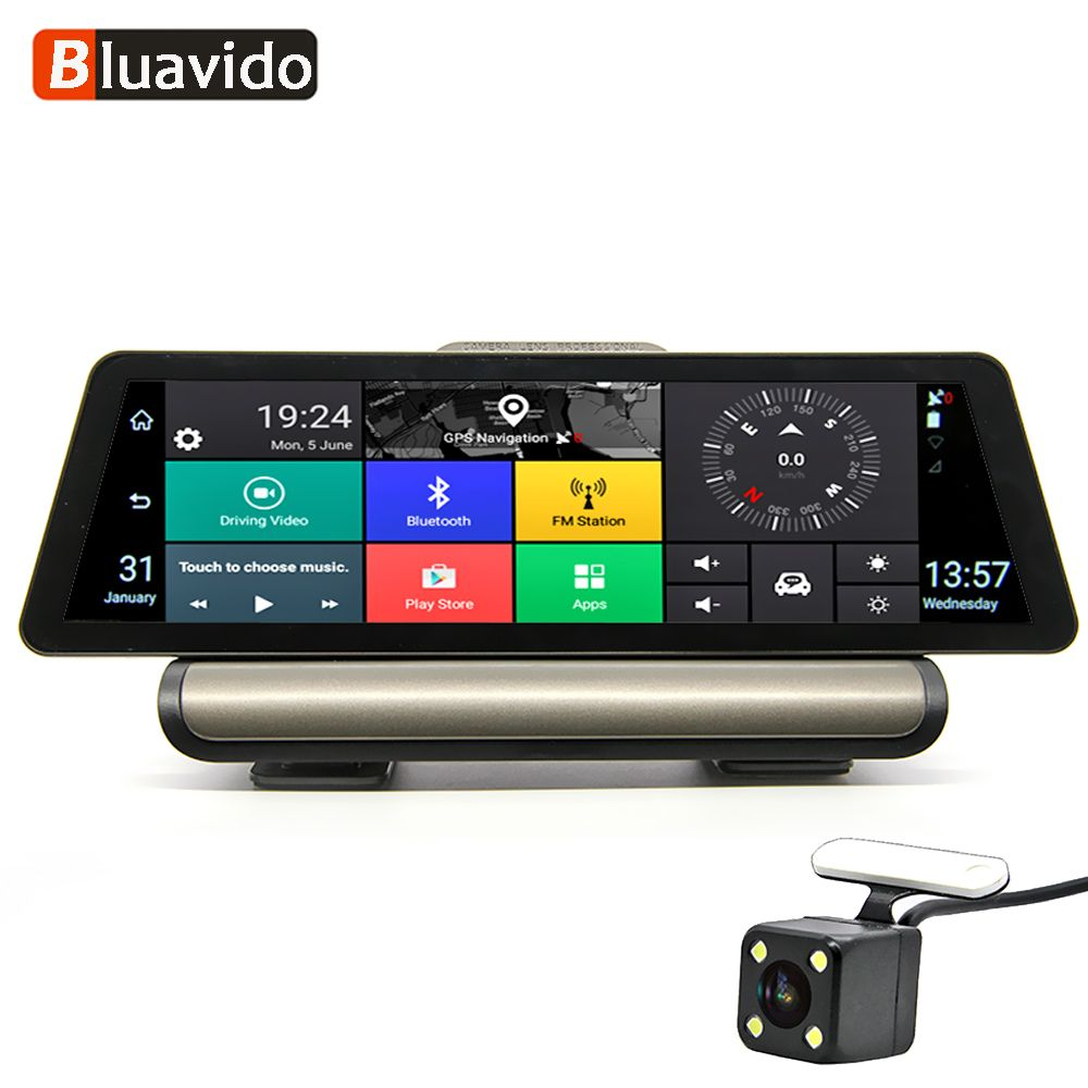 Bluavido 10 Zoll 4G Android Auto DVR 1080 P Video Kamera GPS Navigation ADAS Full HD Camcorder Bluetooth WiFi dual lens Dashcam