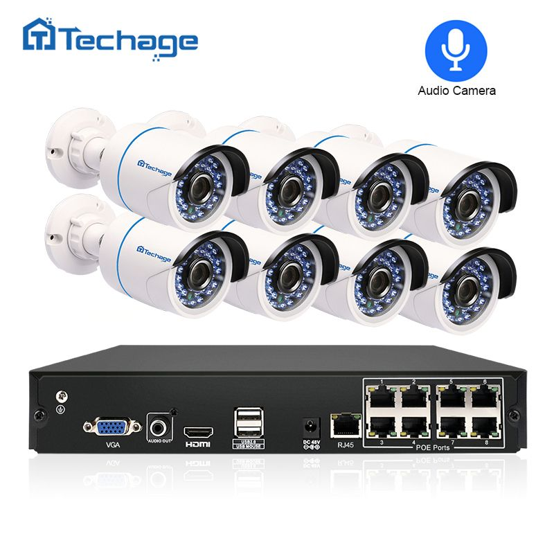 Techage 8CH 1080P HDMI POE NVR Kit CCTV Security System 8PCS Outdoor 2MP Audio Sound IP Camera P2P Video POE Surveillance System