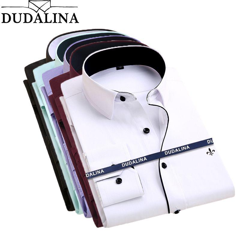 Dudalina Camisa Male Shirts Long Sleeve Men Shirt Brand Clothing Casual Slim Fit Camisa Social <font><b>Striped</b></font> Masculina Chemise Homme