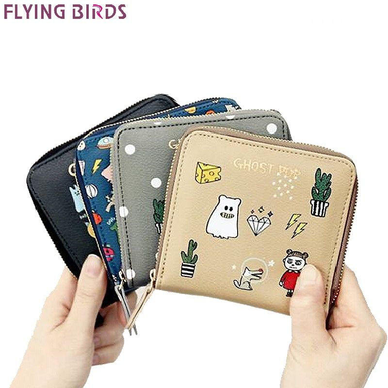 FLYING BIRDS women wallets brands short style purse dollar price printing designer purses card holder coin bag female LM4158fb