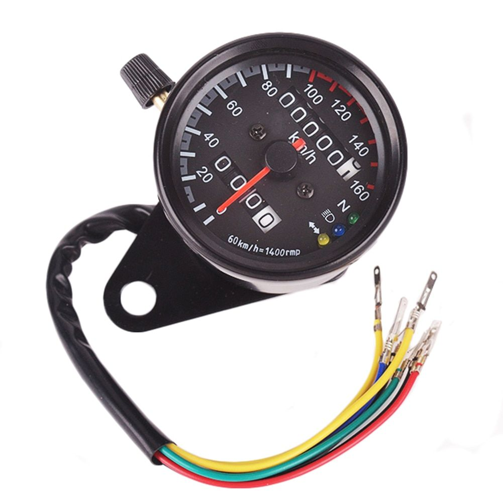 DC12V Universal 160km/h Motorcycle Speedometer Odometer Gauge ATV Bike Scooter Backlit Dual Speed Meter With LED Indicator