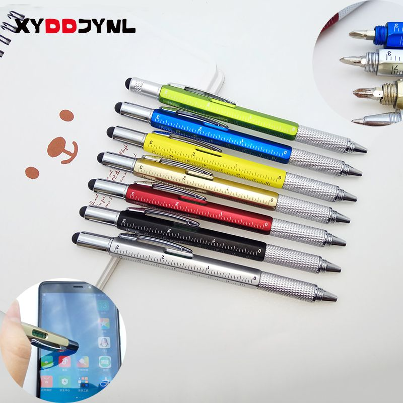 1PC Tool Ballpoint Pen Creative Stationery Screwdriver Ruler Spirit Level Ball Pen Multifunction Canetas Office Promotion Gift