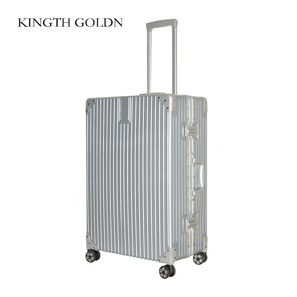 KINGTH GOLDN aluminum froame+PC+ABS rolling chamber women travel luggage crash proof truckle suitcase castor lock rolley