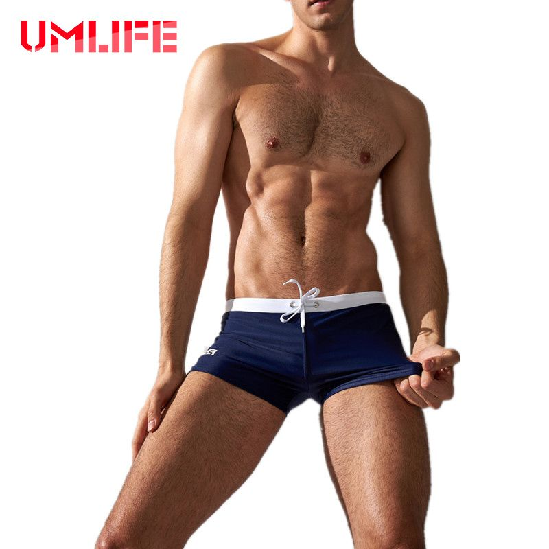 UMLIFE Swimwear Men Swimming Trunks Summer Sexy Swimsuits Boxer Sports Surf Board Shorts Men's Swim Briefs Pocket Beach Shorts