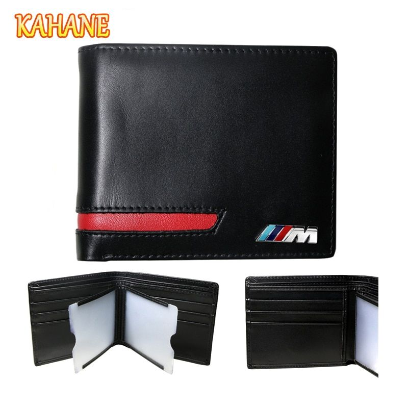 KAHANE Genuine Leather Men Wallet Car Driver License Holder Credit Card Wallet For BMW E46 E60 E90 F10 E64 E91 E39 F10 F20 F30
