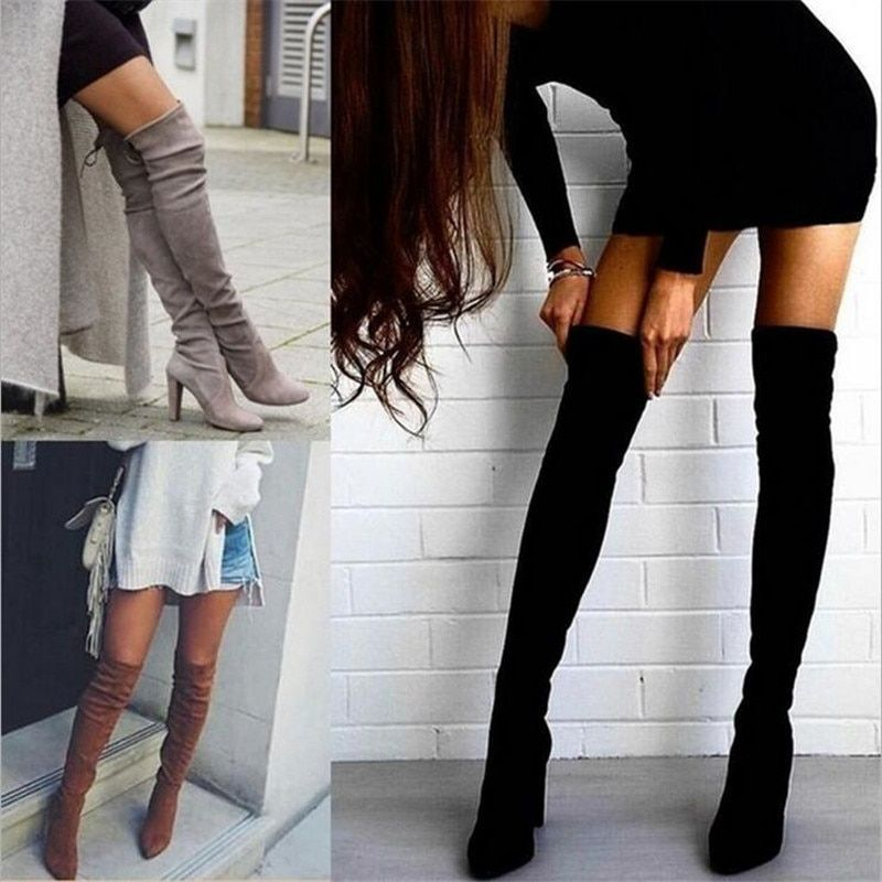 ELGEER Size 34-43 2018 New Shoes Women Boots Black Over the Knee Boots Sexy Female Autumn Winter lady Thigh High Boots